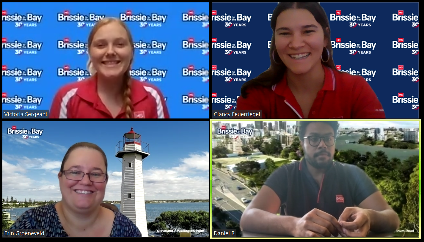 Split screen of four with people on video calls using the MS Brissie to the Bay backgrounds